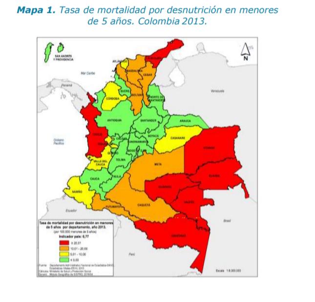 Tasa de mortalidad de desnutrición infantil en Colombia por departamento